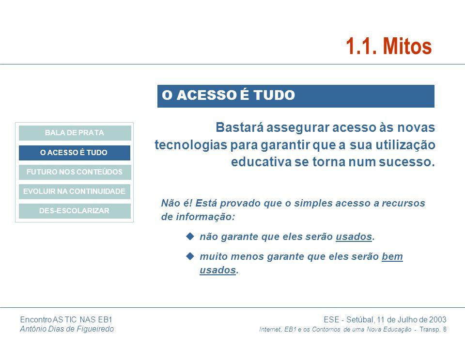 Encontro AS TIC NAS EB1 ESE - Setúbal, 11 de Julho de 2003 António Dias de Figueiredo Internet, EB1 e os Contornos de uma Nova Educação - Transp. 8 Ba
