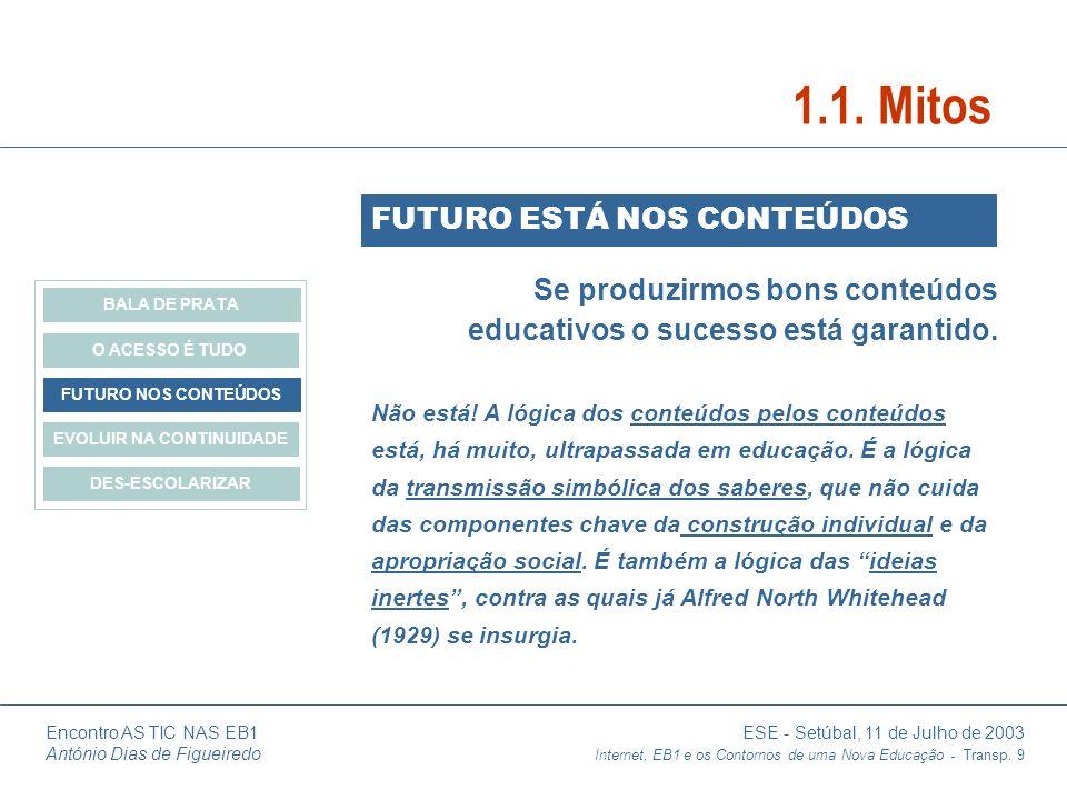 Encontro AS TIC NAS EB1 ESE - Setúbal, 11 de Julho de 2003 António Dias de Figueiredo Internet, EB1 e os Contornos de uma Nova Educação - Transp. 9 Se