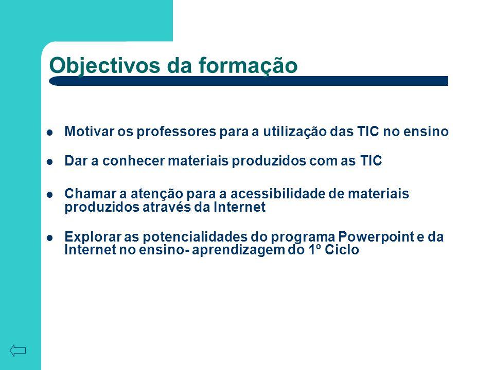 Objectivos da formação Motivar os professores para a utilização das TIC no ensino Dar a conhecer materiais produzidos com as TIC Chamar a atenção para