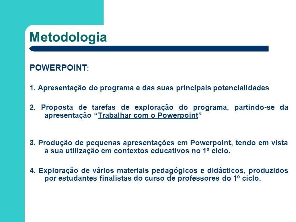 Metodologia POWERPOINT : 1. Apresentação do programa e das suas principais potencialidades 2. Proposta de tarefas de exploração do programa, partindo-