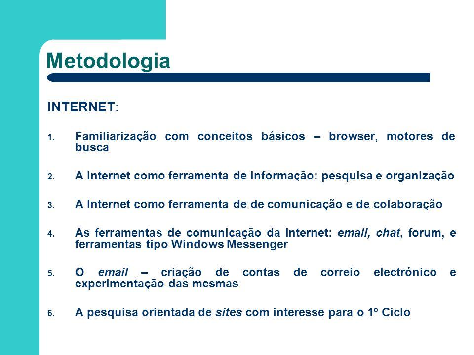 INTERNET : 1. Familiarização com conceitos básicos – browser, motores de busca 2. A Internet como ferramenta de informação: pesquisa e organização 3.