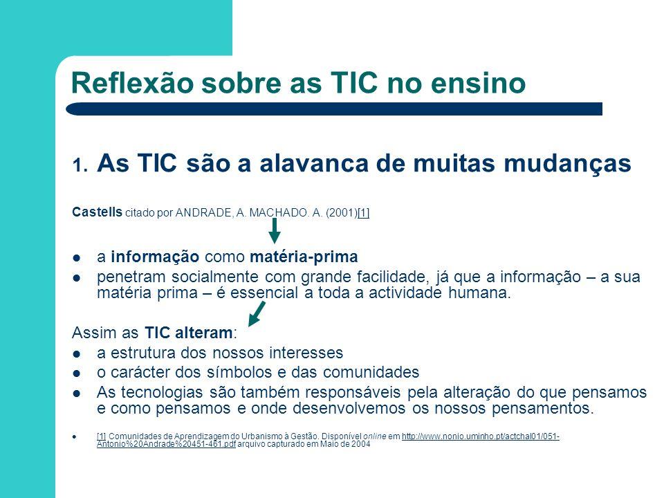 Reflexão sobre as TIC no ensino 1. As TIC são a alavanca de muitas mudanças Castells citado por ANDRADE, A. MACHADO. A. (2001)[1][1] a informação como