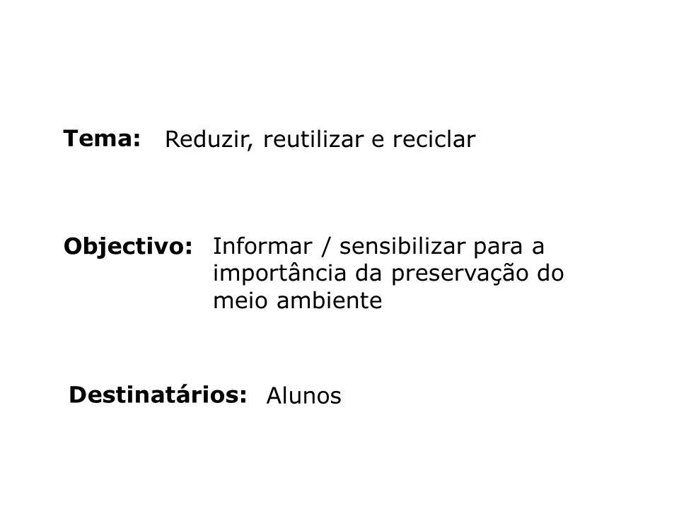 Objectivo: Destinatários: Tema: Reduzir, reutilizar e reciclar Informar / sensibilizar para a importância da preservação do meio ambiente Alunos