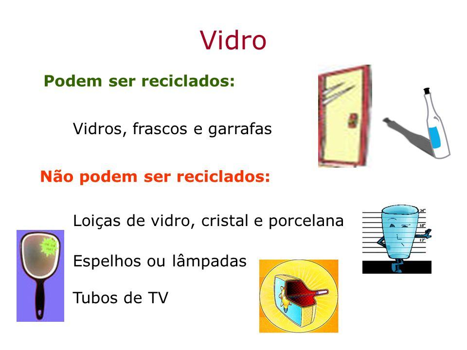 Vidro Podem ser reciclados: Vidros, frascos e garrafas Espelhos ou lâmpadas Loiças de vidro, cristal e porcelana Não podem ser reciclados: Tubos de TV