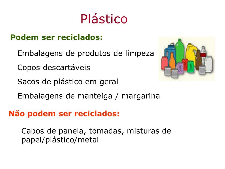 Plástico Podem ser reciclados: Cabos de panela, tomadas, misturas de papel/plástico/metal Não podem ser reciclados: Embalagens de produtos de limpeza