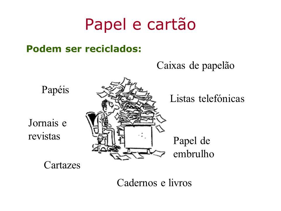 Papel e cartão Podem ser reciclados: Caixas de papelão Cadernos e livros Papéis Papel de embrulho Listas telefónicas Jornais e revistas Cartazes