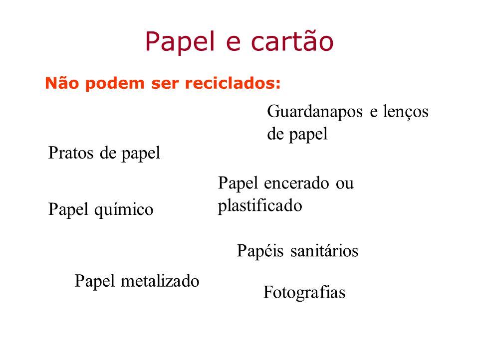 Papel e cartão Não podem ser reciclados: Guardanapos e lenços de papel Fotografias Pratos de papel Papéis sanitários Papel encerado ou plastificado Pa