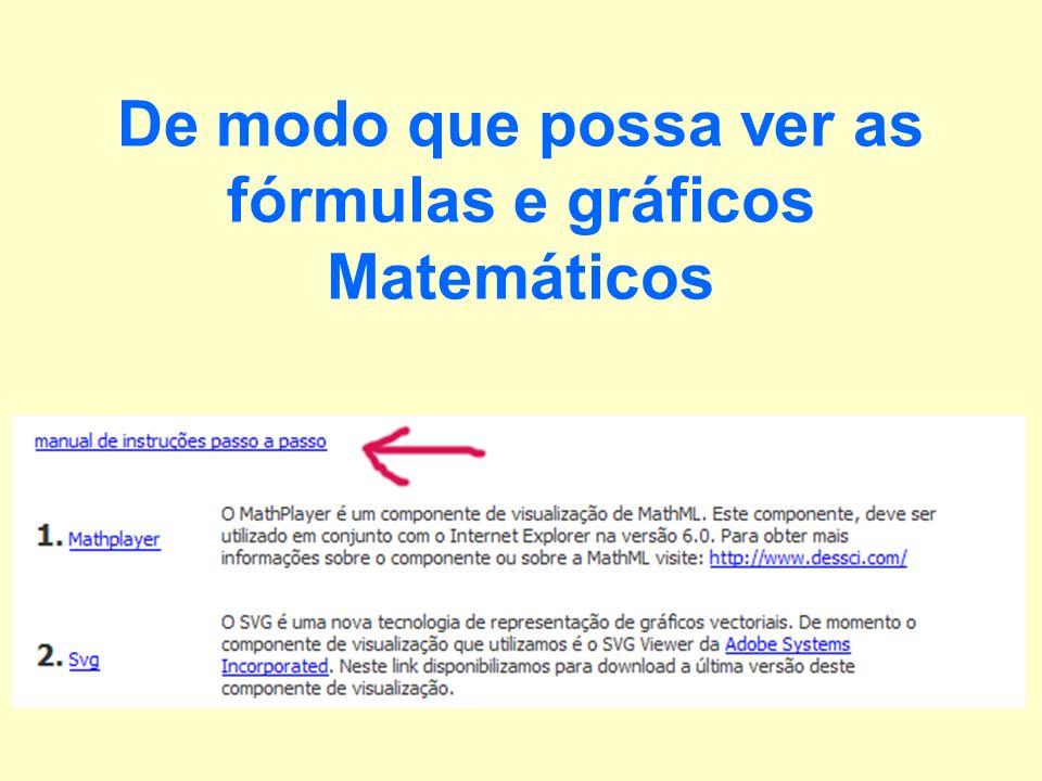 De modo que possa ver as fórmulas e gráficos Matemáticos