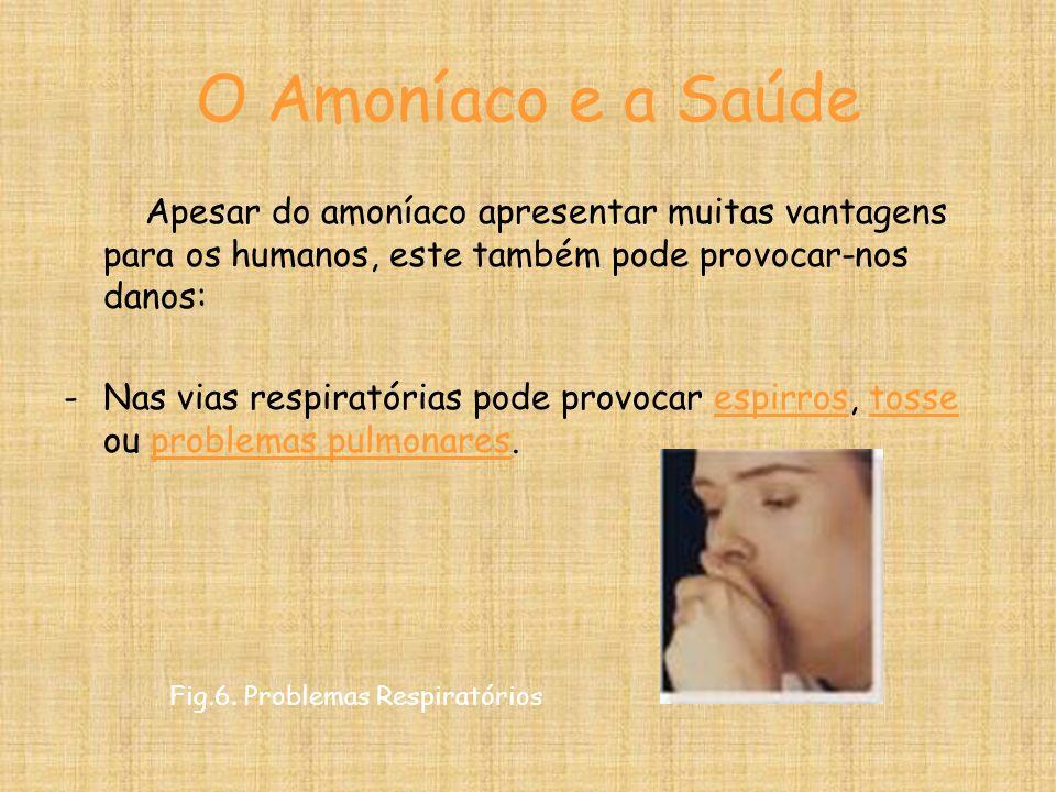 O Amoníaco e a Saúde Apesar do amoníaco apresentar muitas vantagens para os humanos, este também pode provocar-nos danos: -Nas vias respiratórias pode provocar espirros, tosse ou problemas pulmonares.