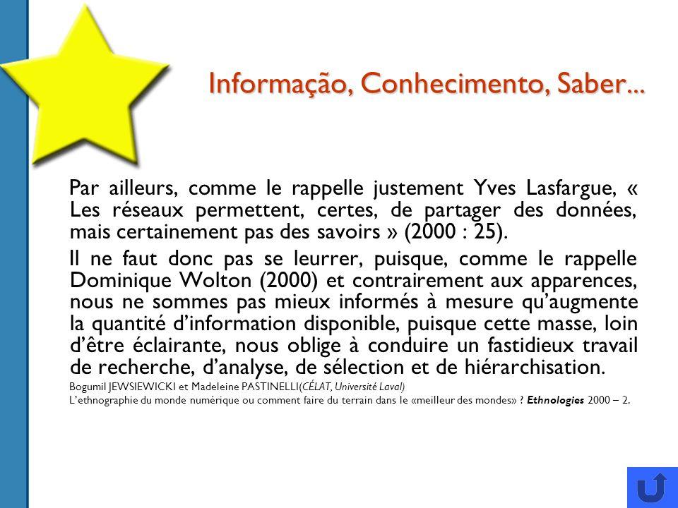 Informação, Conhecimento, Saber...