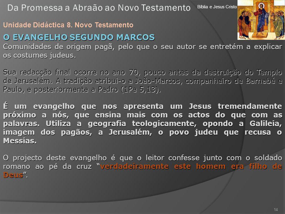 Bíblia e Jesus Cristo Unidade Didáctica 8. Novo Testamento 14 O EVANGELHO SEGUNDO MARCOS Comunidades de origem pagã, pelo que o seu autor se entretém