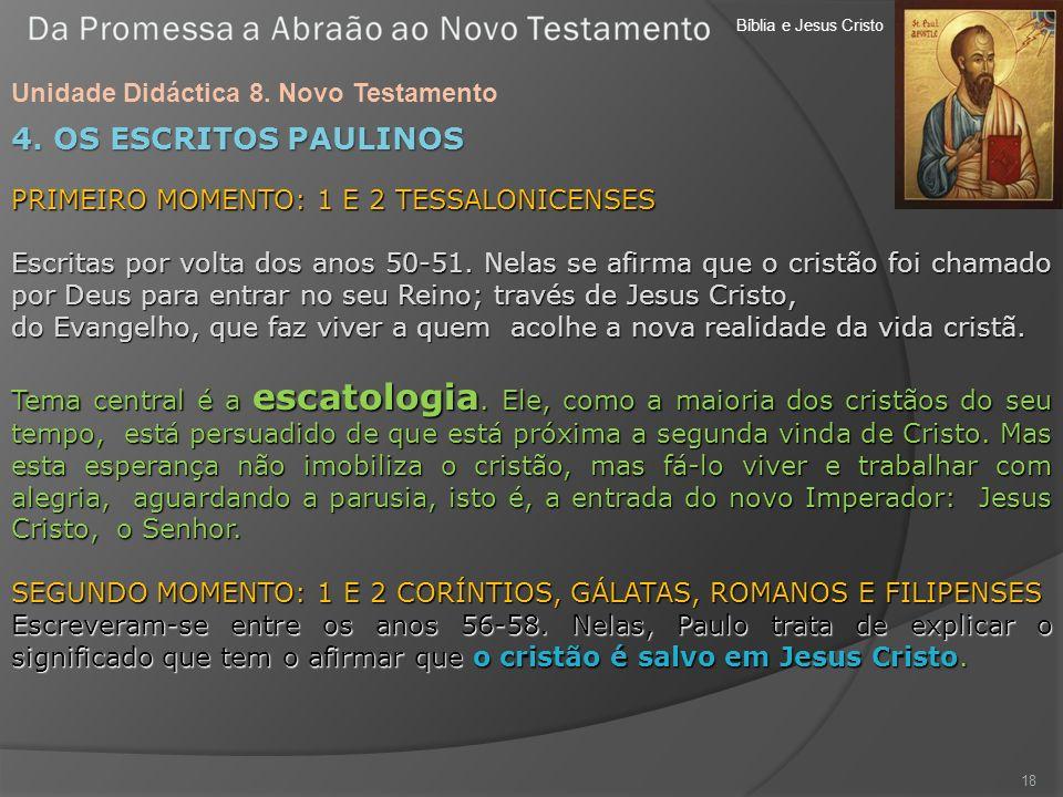 Bíblia e Jesus Cristo Unidade Didáctica 8. Novo Testamento 18 4. OS ESCRITOS PAULINOS PRIMEIRO MOMENTO: 1 E 2 TESSALONICENSES Escritas por volta dos a