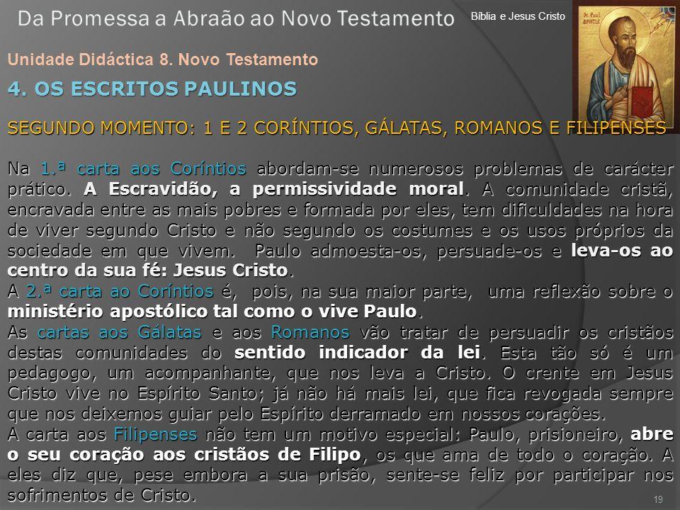 Bíblia e Jesus Cristo Unidade Didáctica 8. Novo Testamento 19 4. OS ESCRITOS PAULINOS SEGUNDO MOMENTO: 1 E 2 CORÍNTIOS, GÁLATAS, ROMANOS E FILIPENSES