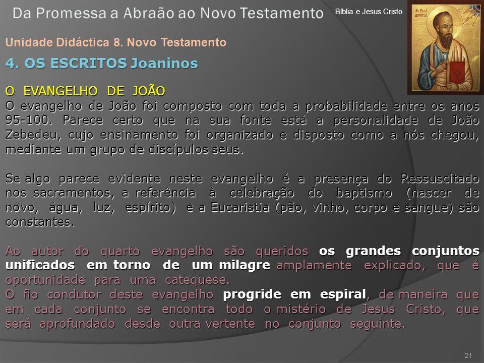 Bíblia e Jesus Cristo Unidade Didáctica 8. Novo Testamento 21 4. OS ESCRITOS Joaninos O EVANGELHO DE JOÃO O evangelho de João foi composto com toda a