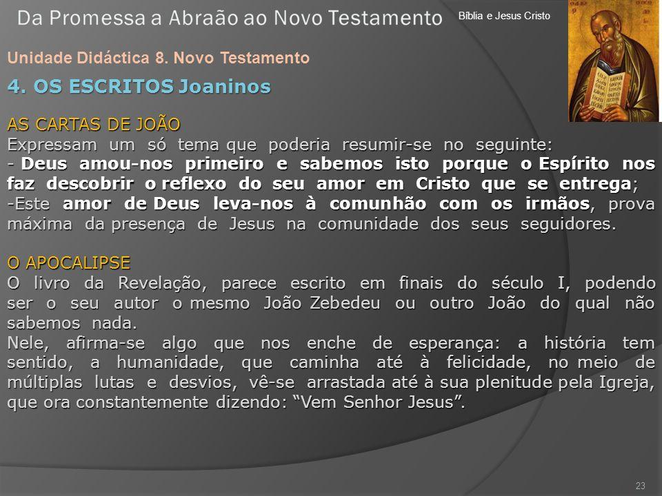 Bíblia e Jesus Cristo Unidade Didáctica 8. Novo Testamento 23 4. OS ESCRITOS Joaninos AS CARTAS DE JOÃO Expressam um só tema que poderia resumir-se no