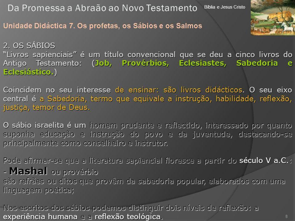 Bíblia e Jesus Cristo Unidade Didáctica 7. Os profetas, os Sábios e os Salmos 8 2. OS SÁBIOS Livros sapienciais é um título convencional que se deu a