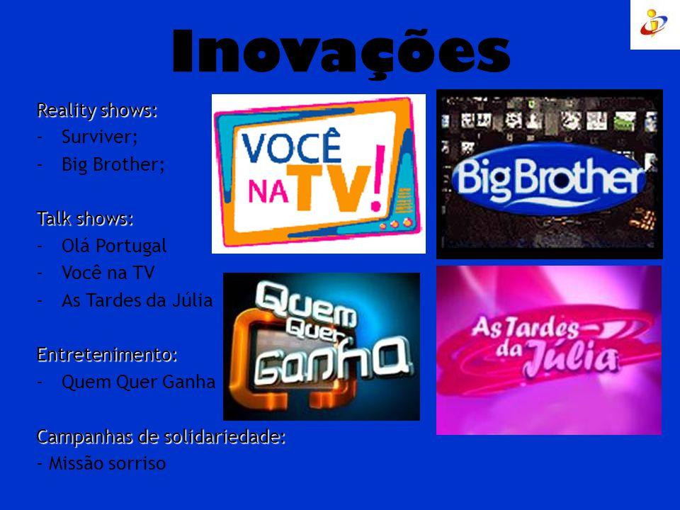 Inovações Reality shows: -Surviver; -Big Brother; Talk shows: -Olá Portugal -Você na TV -As Tardes da JúliaEntretenimento: -Quem Quer Ganha Campanhas