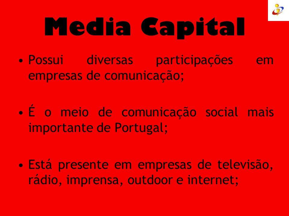 Media Capital Possui diversas participações em empresas de comunicação; É o meio de comunicação social mais importante de Portugal; Está presente em e