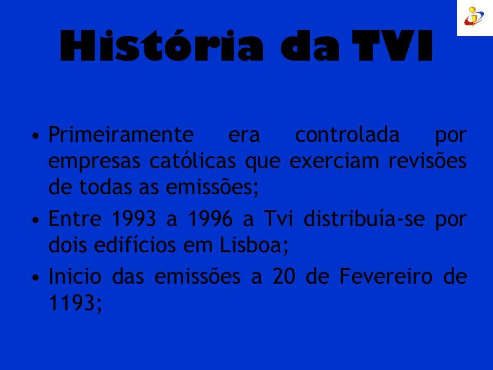 História da TVI Primeiramente era controlada por empresas católicas que exerciam revisões de todas as emissões; Entre 1993 a 1996 a Tvi distribuía-se