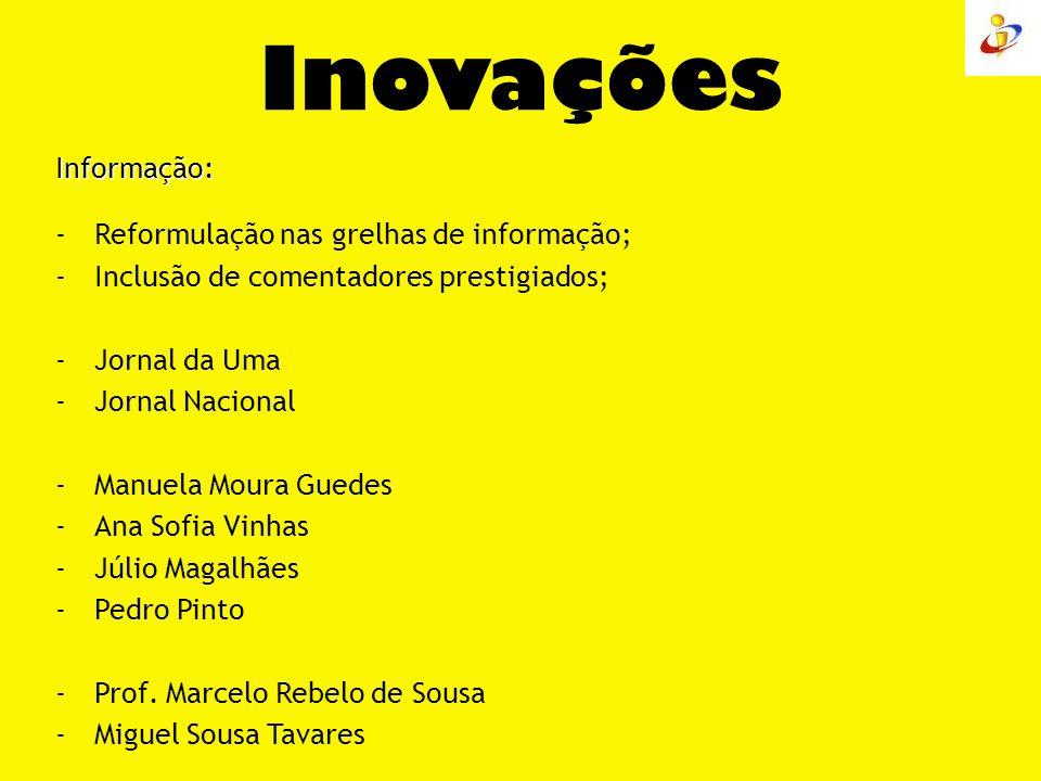 Inovações Informação: -Reformulação nas grelhas de informação; -Inclusão de comentadores prestigiados; -Jornal da Uma -Jornal Nacional -Manuela Moura