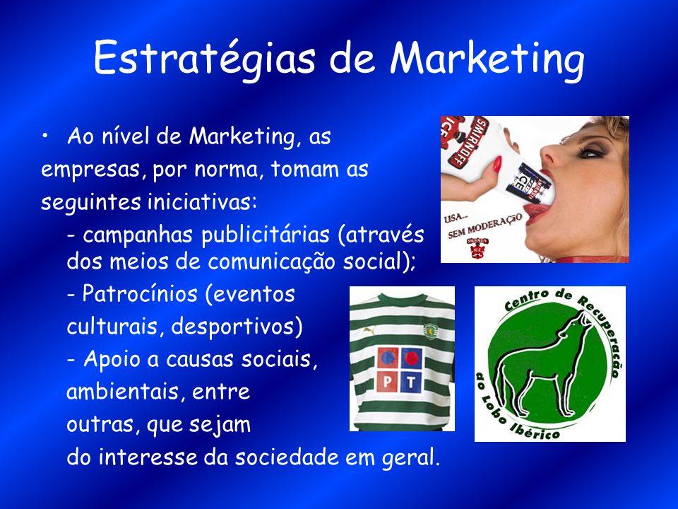 Estratégias de Marketing Ao nível de Marketing, as empresas, por norma, tomam as seguintes iniciativas: - campanhas publicitárias (através dos meios d