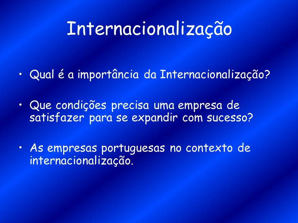 Internacionalização Qual é a importância da Internacionalização? Que condições precisa uma empresa de satisfazer para se expandir com sucesso? As empr