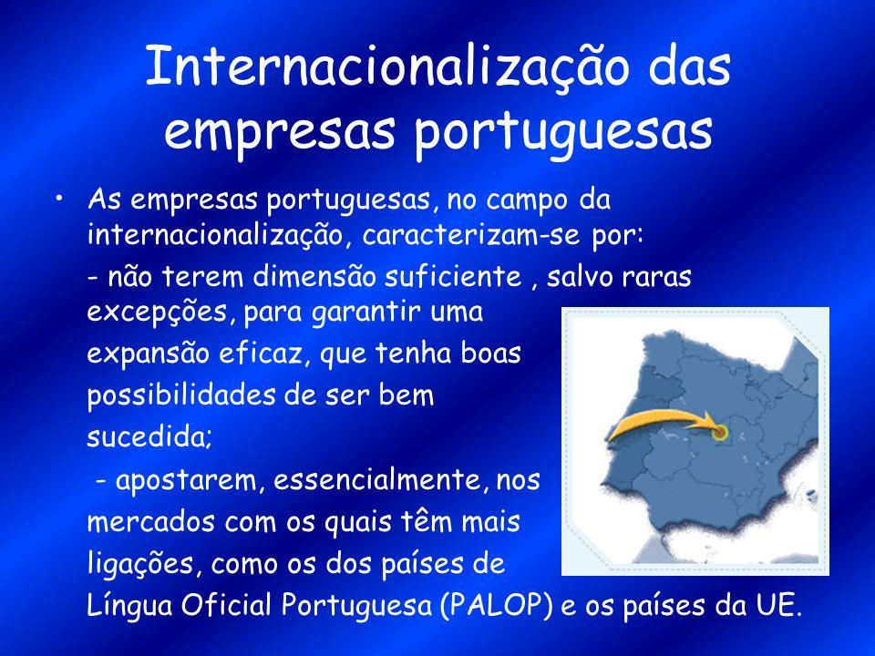 Internacionalização das empresas portuguesas As empresas portuguesas, no campo da internacionalização, caracterizam-se por: - não terem dimensão sufic
