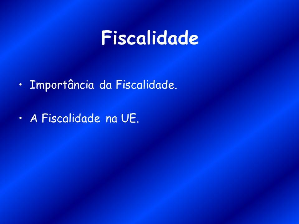 Fiscalidade Importância da Fiscalidade. A Fiscalidade na UE.