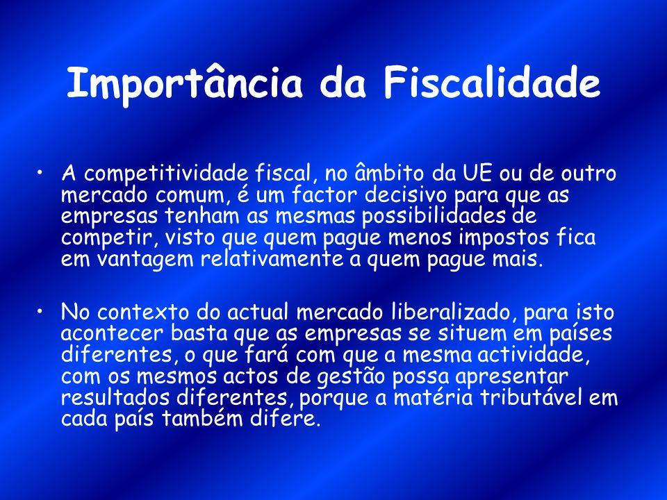 Importância da Fiscalidade A competitividade fiscal, no âmbito da UE ou de outro mercado comum, é um factor decisivo para que as empresas tenham as me