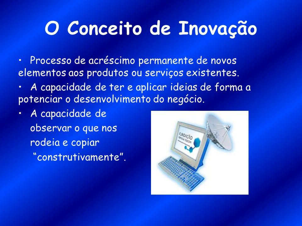 O Conceito de Inovação Processo de acréscimo permanente de novos elementos aos produtos ou serviços existentes. A capacidade de ter e aplicar ideias d