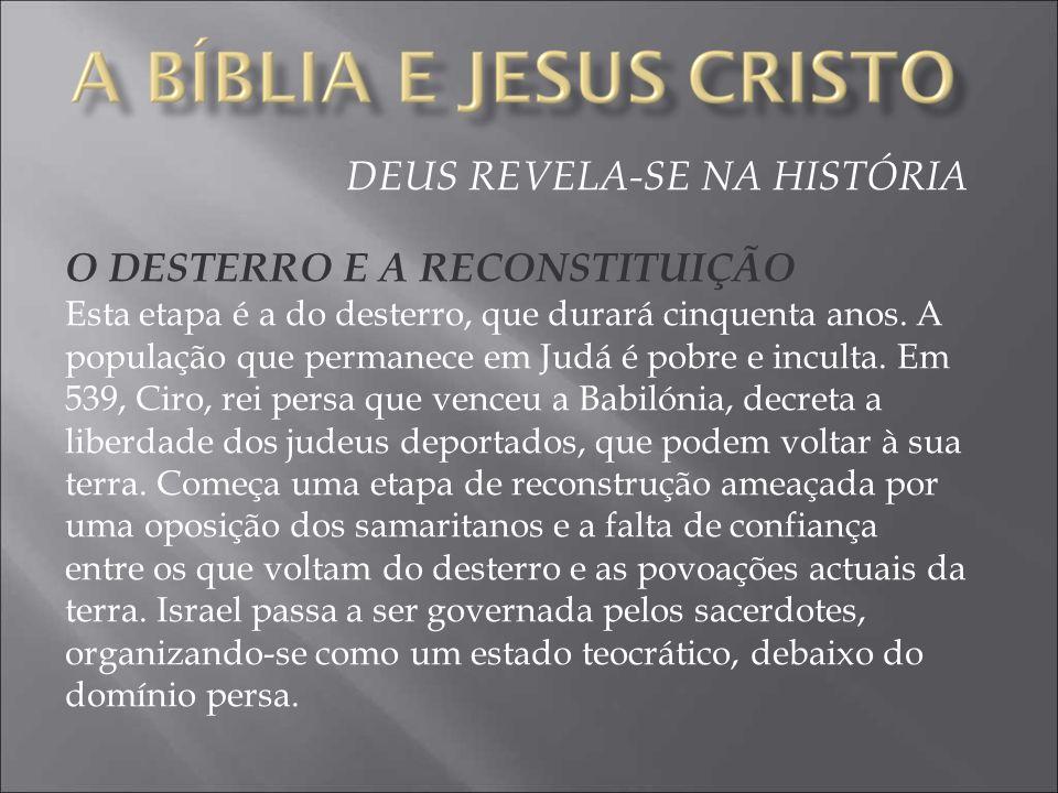DEUS REVELA-SE NA HISTÓRIA O DESTERRO E A RECONSTITUIÇÃO Esta etapa é a do desterro, que durará cinquenta anos.