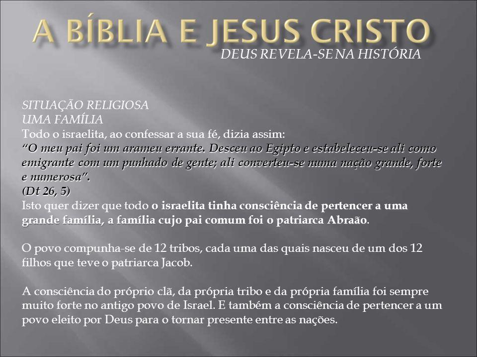 SITUAÇÃO RELIGIOSA UMA FAMÍLIA Todo o israelita, ao confessar a sua fé, dizia assim: O meu pai foi um arameu errante.
