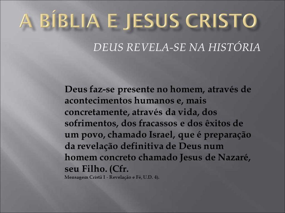 DEUS REVELA-SE NA HISTÓRIA Deus faz-se presente no homem, através de acontecimentos humanos e, mais concretamente, através da vida, dos sofrimentos, d
