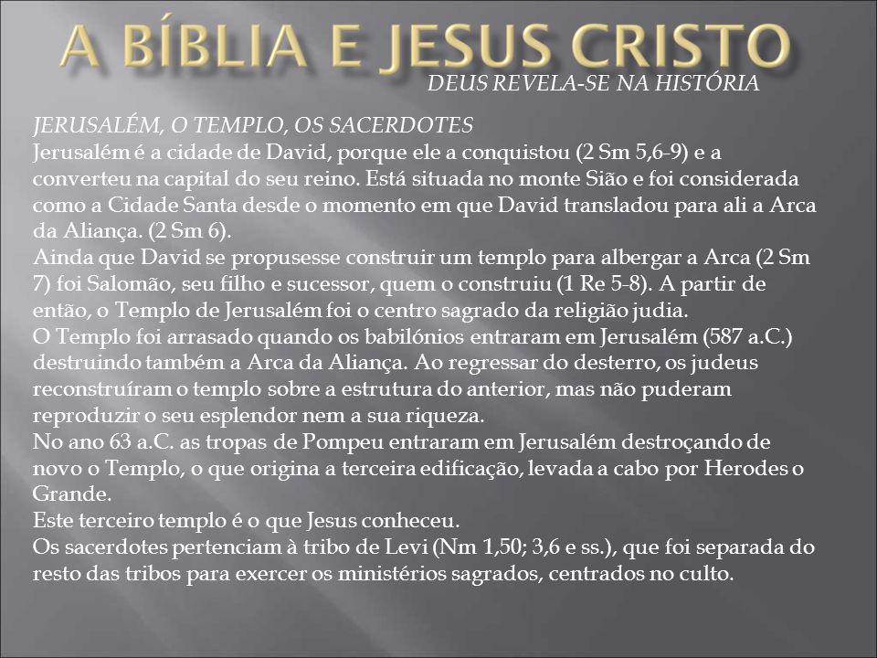 DEUS REVELA-SE NA HISTÓRIA JERUSALÉM, O TEMPLO, OS SACERDOTES Jerusalém é a cidade de David, porque ele a conquistou (2 Sm 5,6-9) e a converteu na cap