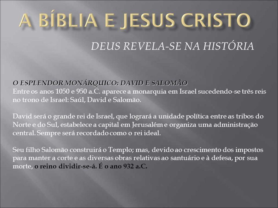 DEUS REVELA-SE NA HISTÓRIA O ESPLENDOR MONÁRQUICO: DAVID E SALOMÃO Entre os anos 1050 e 950 a.C.