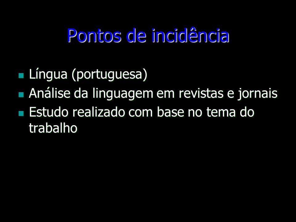 Pontos de incidência Língua (portuguesa) Língua (portuguesa) Análise da linguagem em revistas e jornais Análise da linguagem em revistas e jornais Est