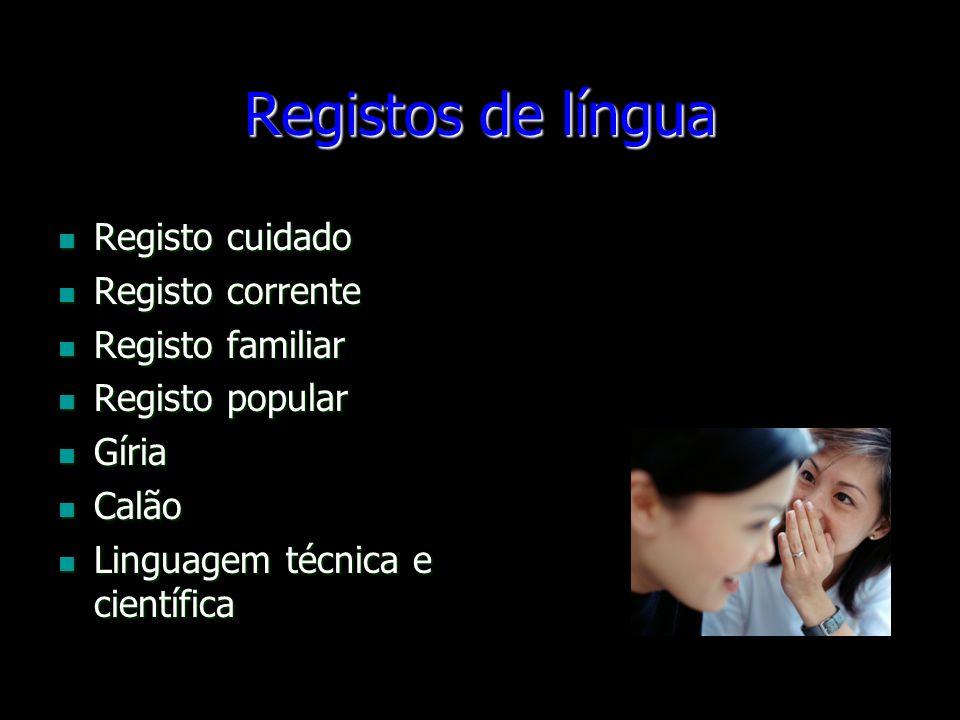 Registos de língua Registo cuidado Registo corrente Registo familiar Registo popular Gíria Calão Linguagem técnica e científica