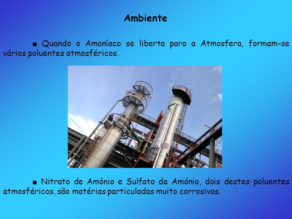 Ambiente Quando o Amoníaco se liberta para a Atmosfera, formam-se vários poluentes atmosféricos. Nitrato de Amónio e Sulfato de Amónio, dois destes po