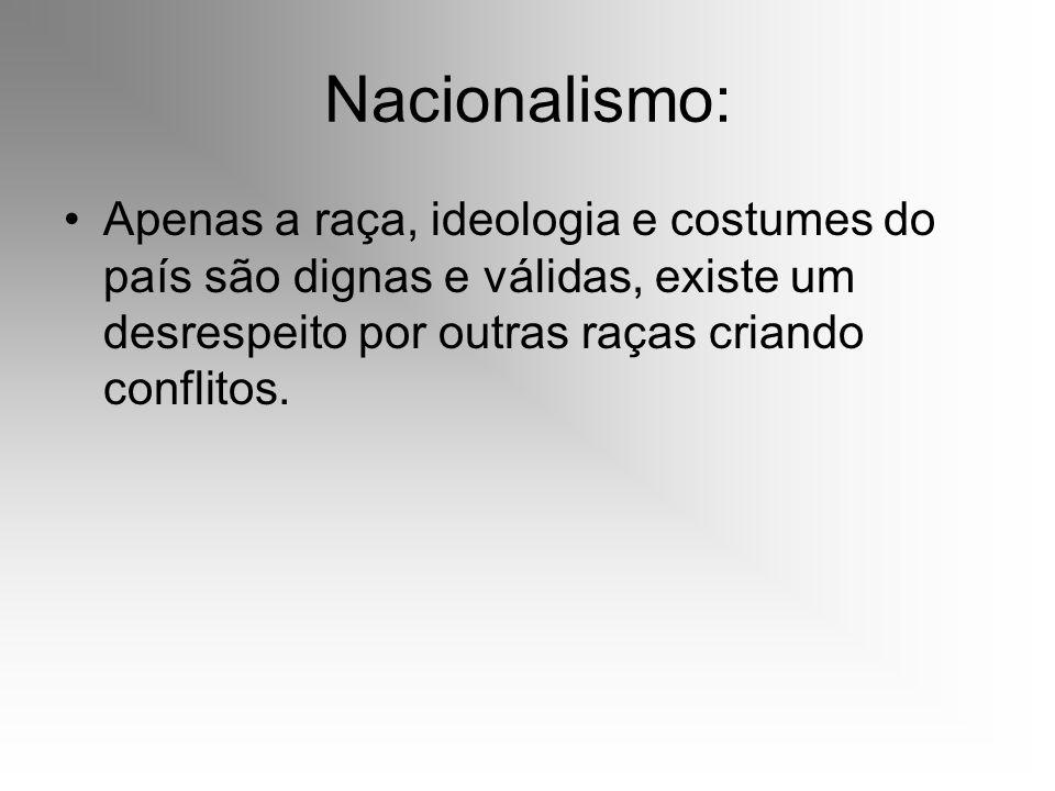 Nacionalismo: Apenas a raça, ideologia e costumes do país são dignas e válidas, existe um desrespeito por outras raças criando conflitos.