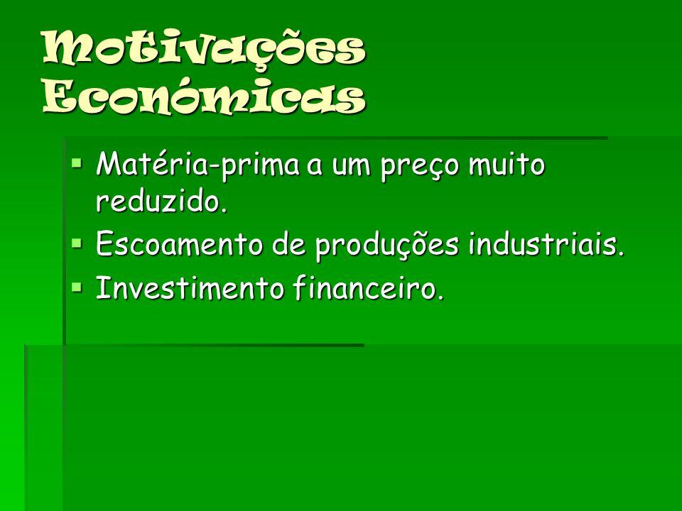 Motivações Económicas Matéria-prima a um preço muito reduzido.