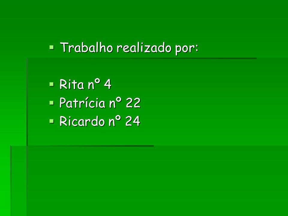 Trabalho realizado por: Trabalho realizado por: Rita nº 4 Rita nº 4 Patrícia nº 22 Patrícia nº 22 Ricardo nº 24 Ricardo nº 24
