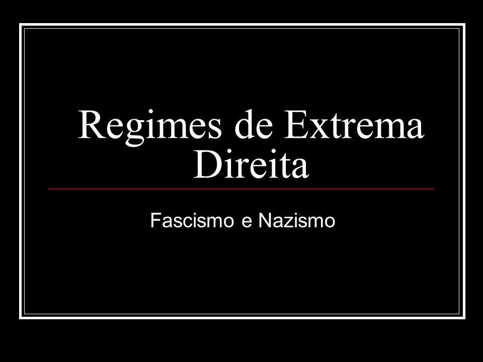 Fascismo O Fascismo é uma ideologia de extrema direita e baseava-se em algumas ideias tais como: O Imperialismo; o Nacionalismo; o Autoritarismo; o Totalitarismo; o Culto da Personalidade; o Corporativismo; Ideologia oficial; Militarismo.
