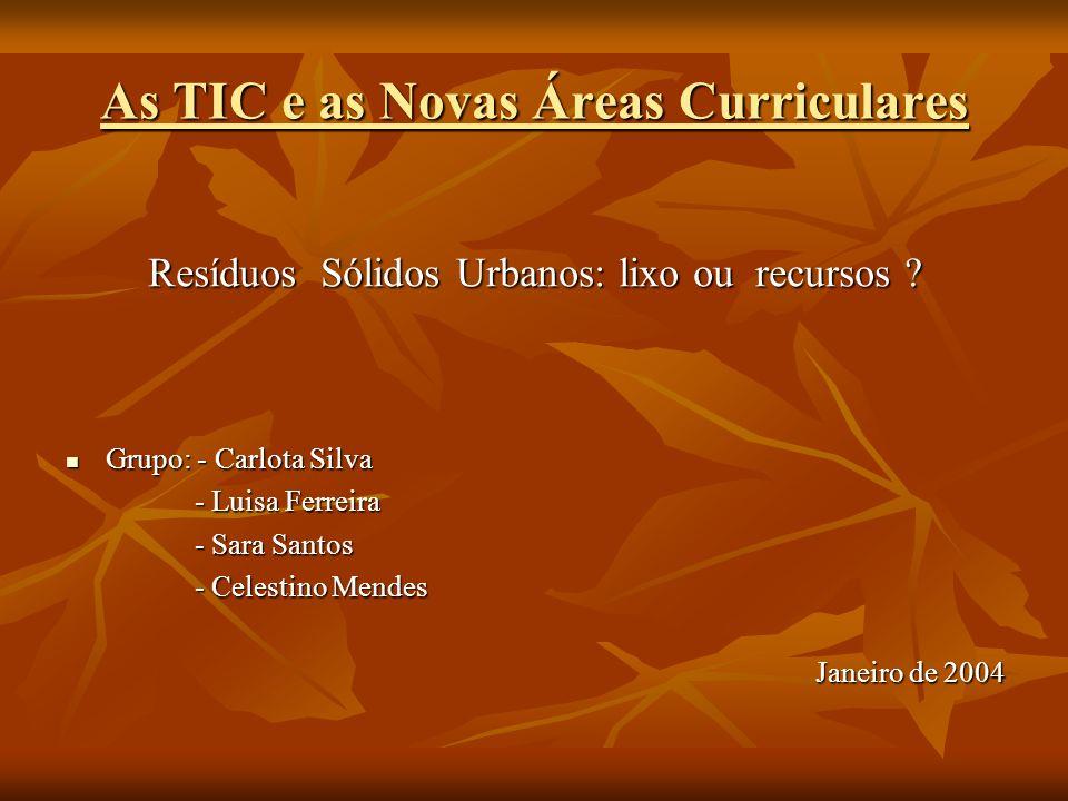 As TIC e as Novas Áreas Curriculares Resíduos Sólidos Urbanos: lixo ou recursos ? Grupo: - Carlota Silva Grupo: - Carlota Silva - Luisa Ferreira - Lui