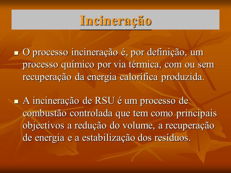 Incineração O processo incineração é, por definição, um processo químico por via térmica, com ou sem recuperação da energia calorífica produzida. O pr