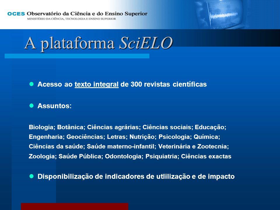 A plataforma SciELO Acesso ao texto integral de 300 revistas científicas Assuntos: Biologia; Botânica; Ciências agrárias; Ciências sociais; Educação;