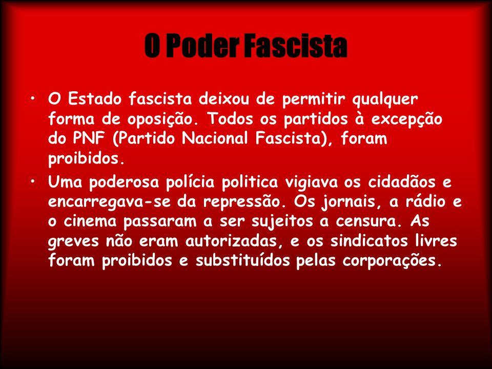 O Poder Fascista O Estado fascista deixou de permitir qualquer forma de oposição. Todos os partidos à excepção do PNF (Partido Nacional Fascista), for