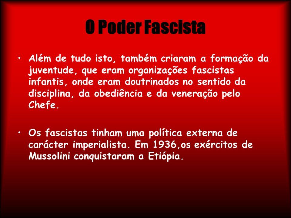 O Poder Fascista Além de tudo isto, também criaram a formação da juventude, que eram organizações fascistas infantis, onde eram doutrinados no sentido
