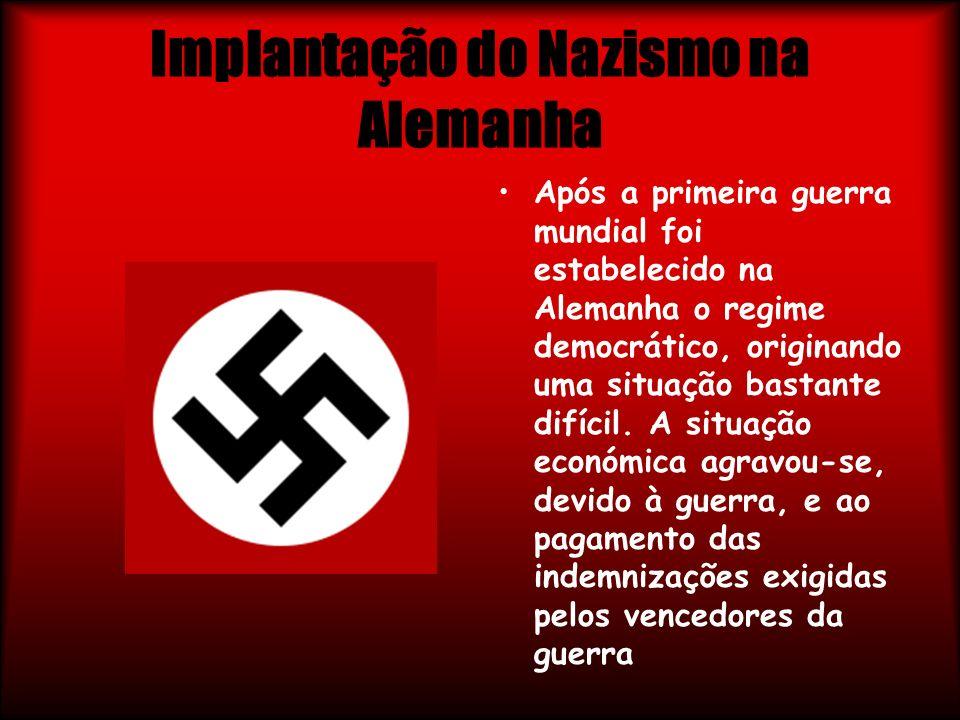 Implantação do Nazismo na Alemanha Após a primeira guerra mundial foi estabelecido na Alemanha o regime democrático, originando uma situação bastante