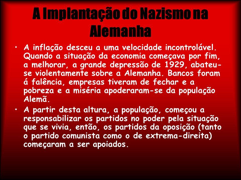 A Implantação do Nazismo na Alemanha A inflação desceu a uma velocidade incontrolável. Quando a situação da economia começava por fim, a melhorar, a g