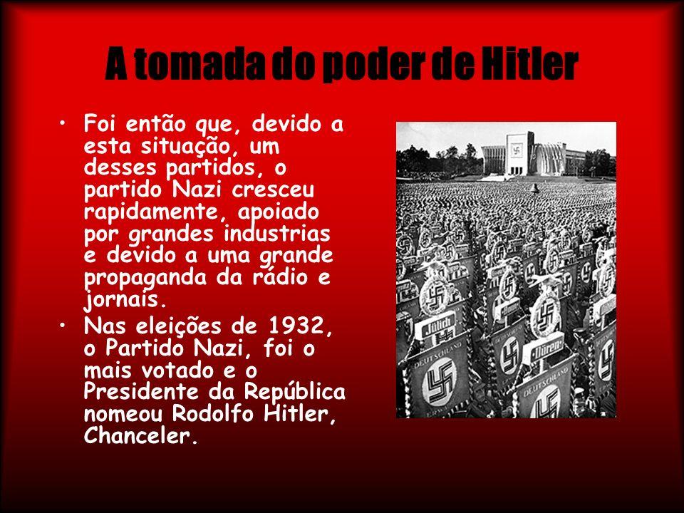 A tomada do poder de Hitler Foi então que, devido a esta situação, um desses partidos, o partido Nazi cresceu rapidamente, apoiado por grandes industr